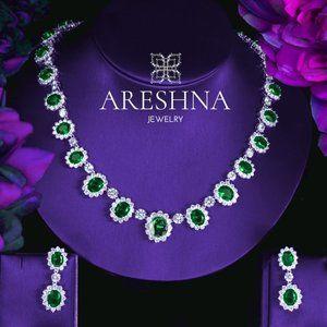 Emerald Swarovski Crystals Luxury Jewelry Set